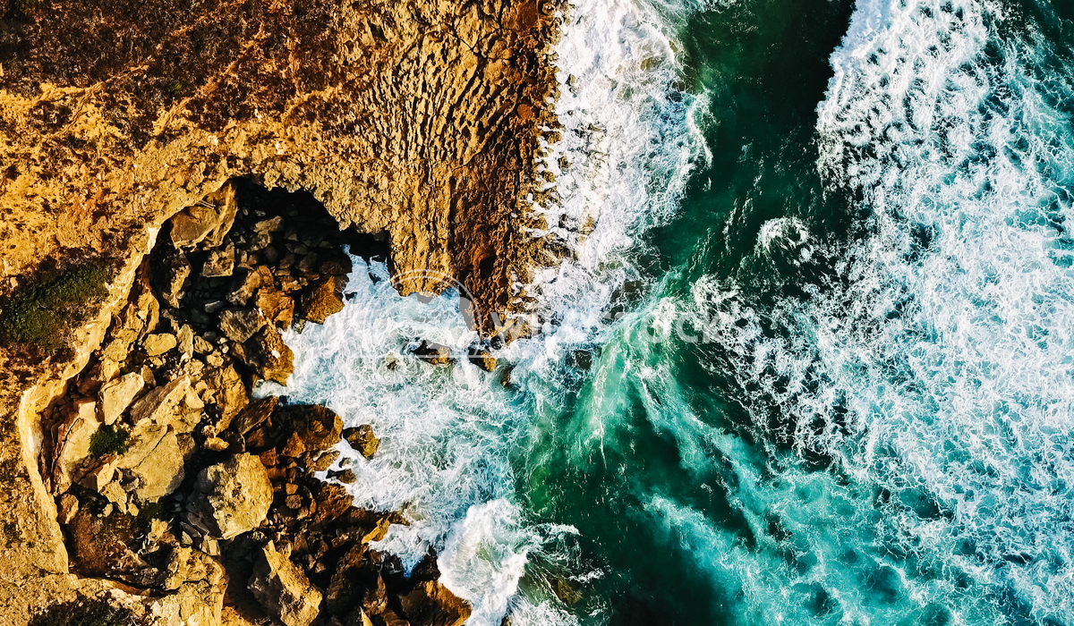 Aerial View Of Ocean Waves Crushing On Rocky Beach Landscape Radu Bercan Aerial View From Flying Drone Of Ocean Waves Cr