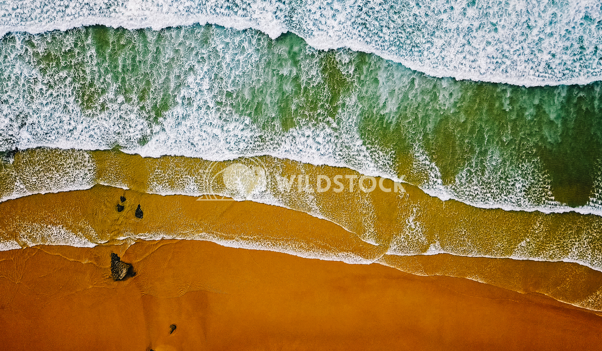 Aerial Ocean Waves Crushing On Beach Radu Bercan Aerial View From Flying Drone Of Ocean Waves Crushing On Beach