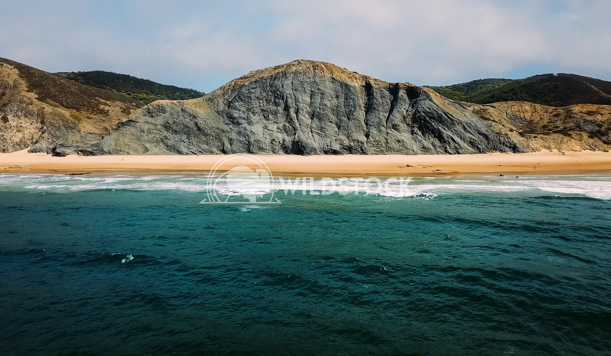 Aerial Panoramic Drone View Of Blue Ocean And Beautiful Sandy Beach in Portugal Radu Bercan Aerial Panoramic Drone View