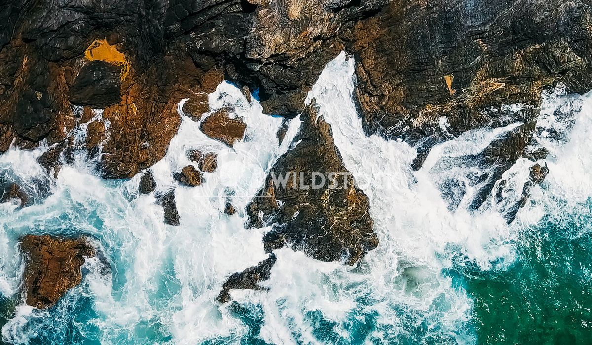 Aerial Drone View Of Dramatic Ocean Waves Crushing On Rocky Shore Radu Bercan Aerial Drone View Of Dramatic Ocean Waves