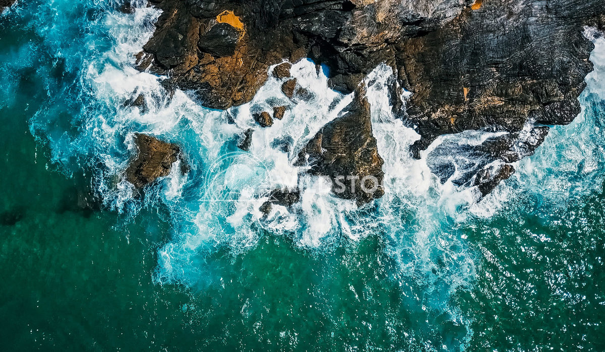 Aerial Drone View Of Dramatic Ocean Waves Crushing On Rocks Landscape Radu Bercan Aerial Drone View Of Dramatic Ocean Wa