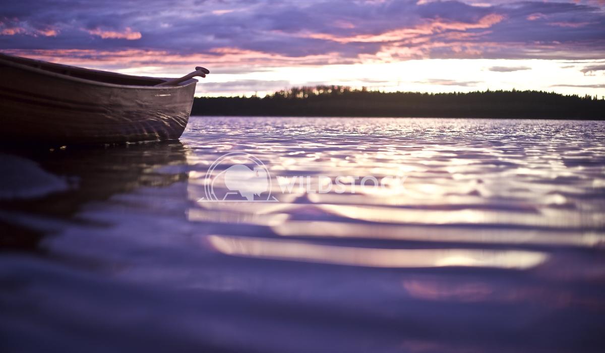 Majestic Purple Sunset with Canoe on Lake Jason Eke