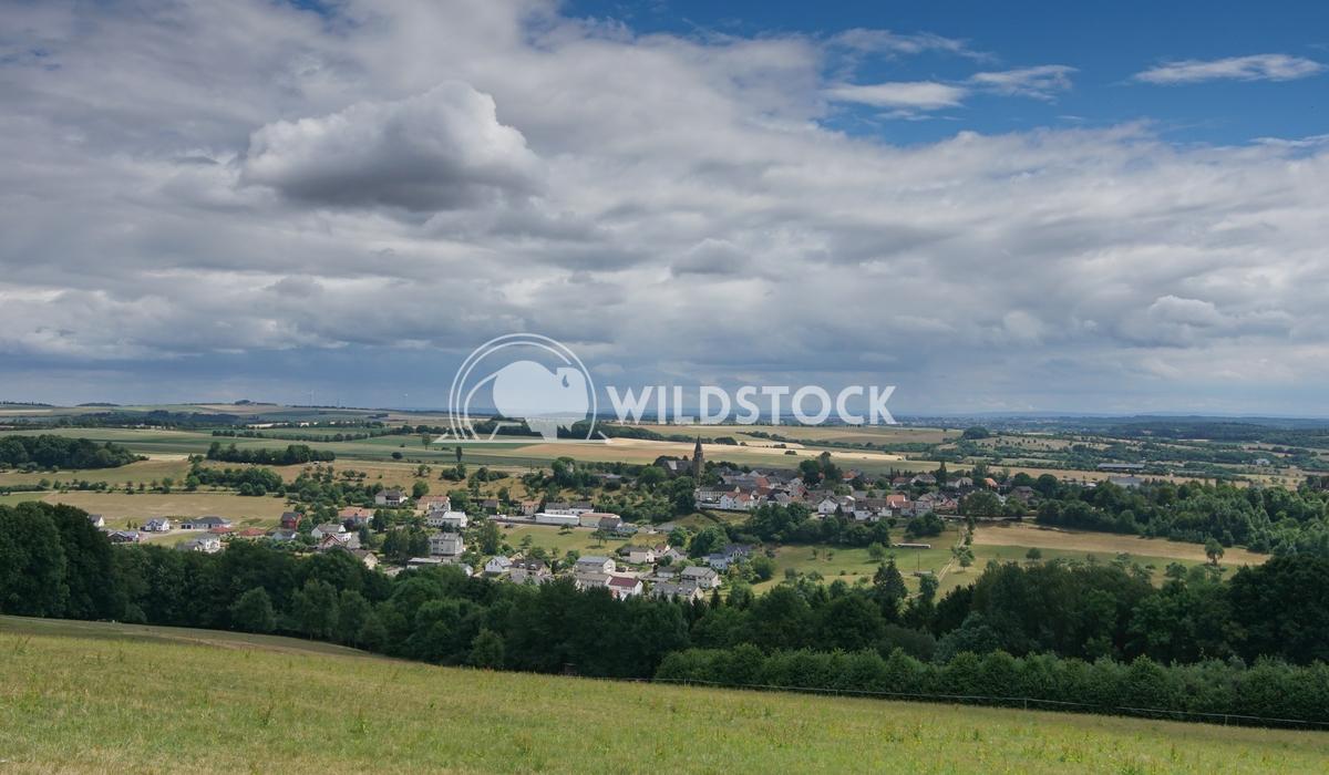 Eifel area close to Bitburg, Germany, Europe Alexander Ludwig Panoramic view over village Wiersdorf, landscape of Eifel