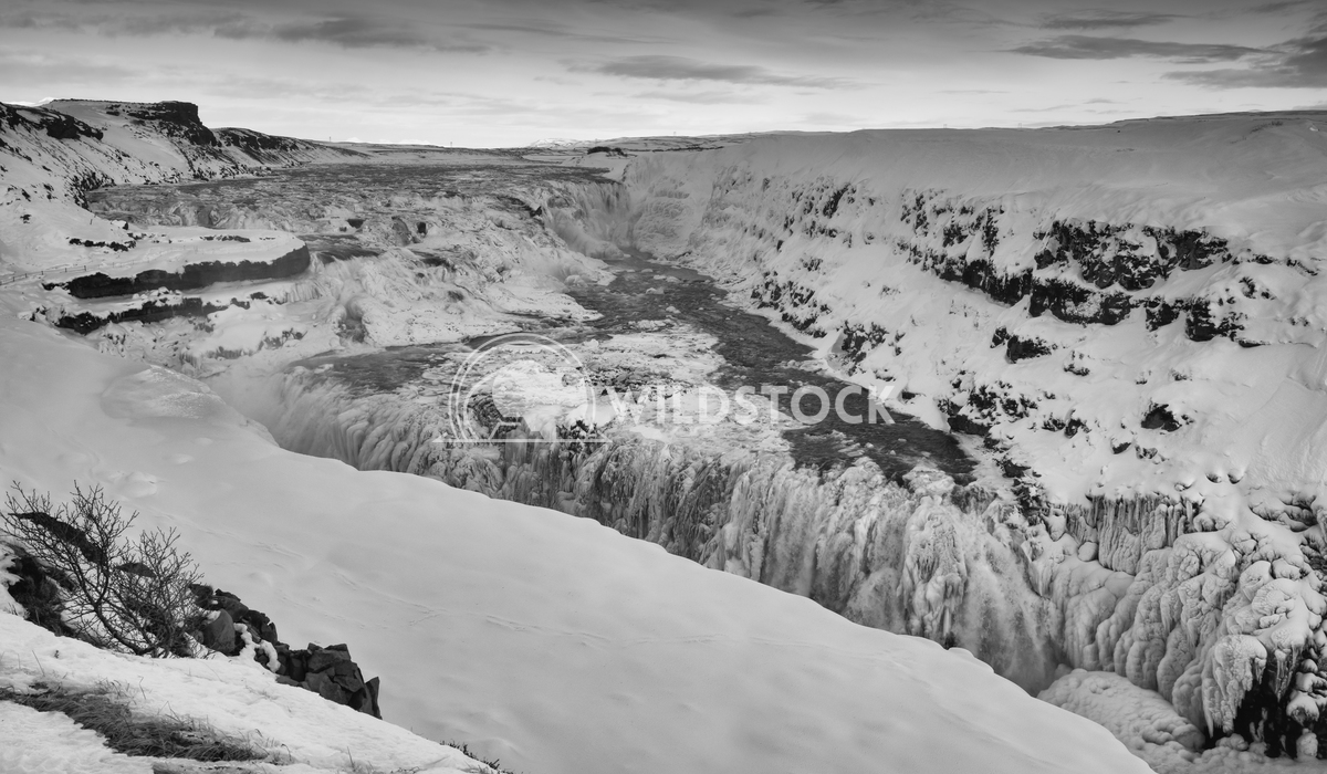 Gullfoss, Iceland, Europe 1 Alexander Ludwig Panoramic image of the frozen waterfall Gullfoss, Iceland, Europe