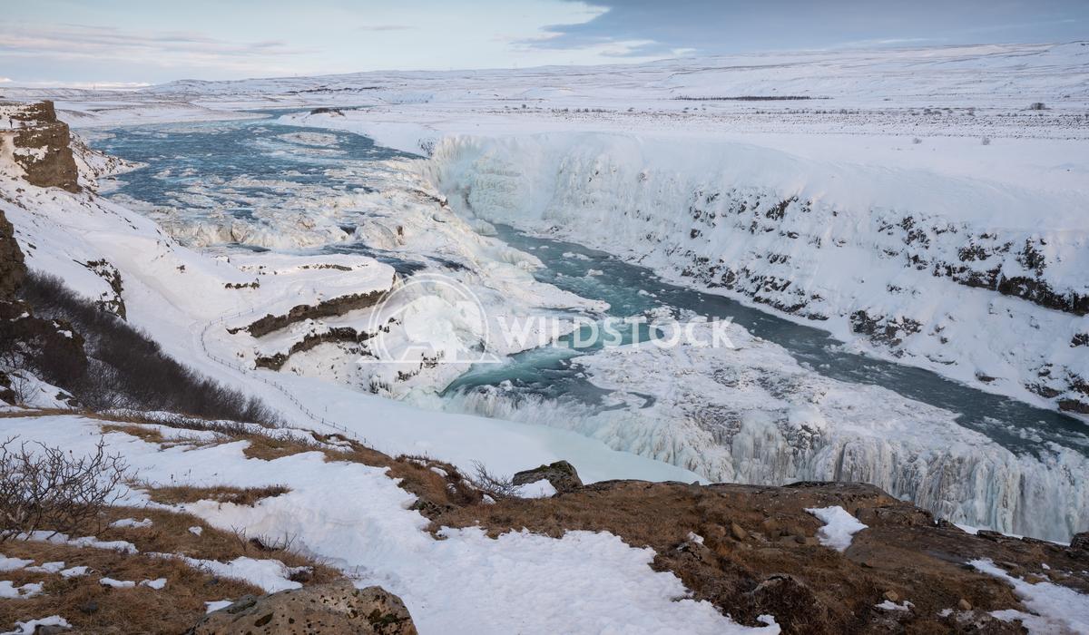 Gullfoss, Iceland, Europe 8 Alexander Ludwig Panoramic image of the frozen waterfall Gullfoss, Iceland, Europe