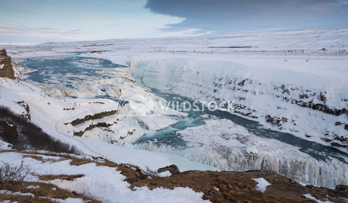 Gullfoss, Iceland, Europe 9 Alexander Ludwig Panoramic image of the frozen waterfall Gullfoss, Iceland, Europe