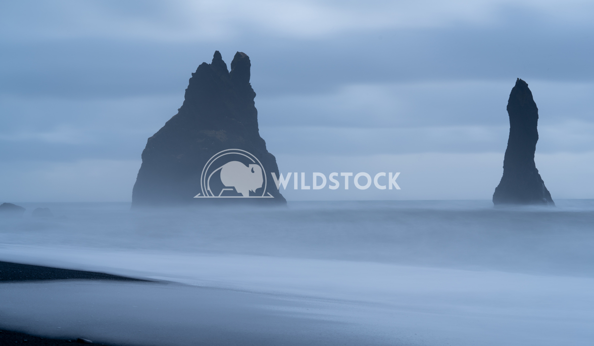 Reynisfjara close to Vik, Iceland, Europe 1 Alexander Ludwig Rock spire of Reynisdrangur, coast of Reynisfjara close to