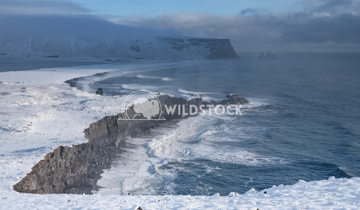 Cape Dyrholaey, Iceland 2 Alexander Ludwig Panoramic image of the coastal landscape of Cape Dyrholaey on a winter day wi