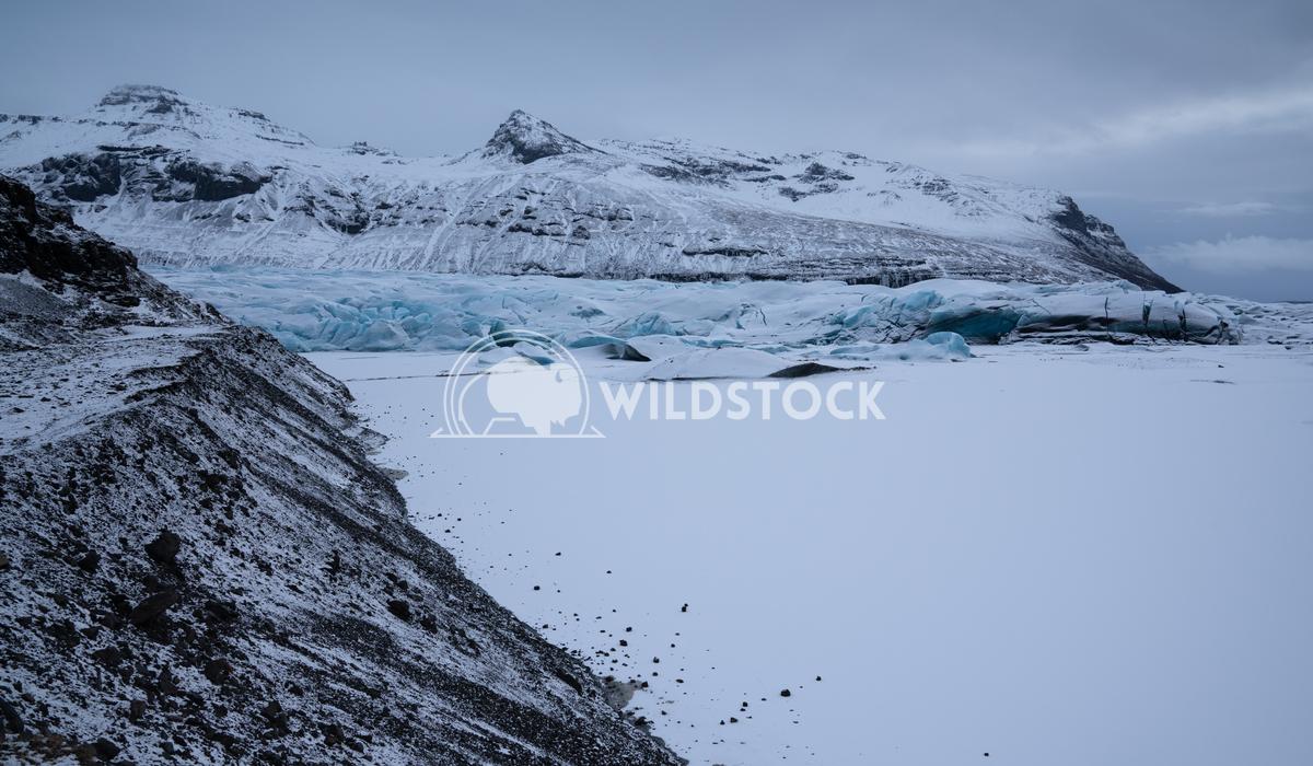 Svinafellsjoekull, Iceland, Europe 1 Alexander Ludwig Panoramic image of the snow-coverd glacier Svinafellsjoekull on a