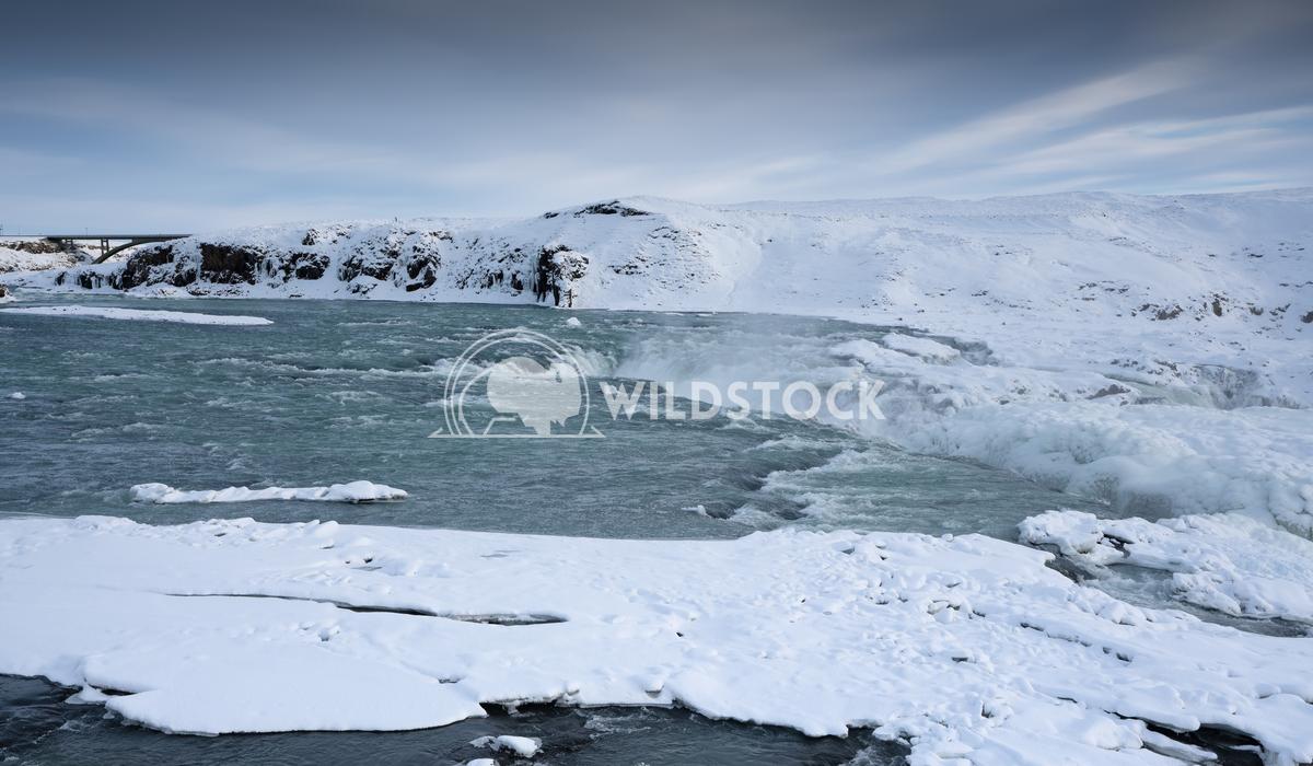 Urridafoss, Iceland, Europe 1 Alexander Ludwig Panoramic image of the frozen waterfall Urridafoss, Iceland, Europe
