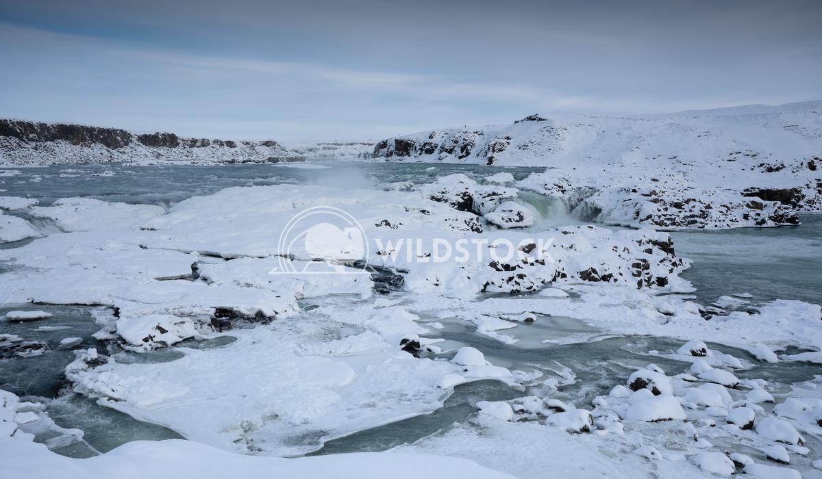 Urridafoss, Iceland, Europe 3 Alexander Ludwig Panoramic image of the frozen waterfall Urridafoss, Iceland, Europe