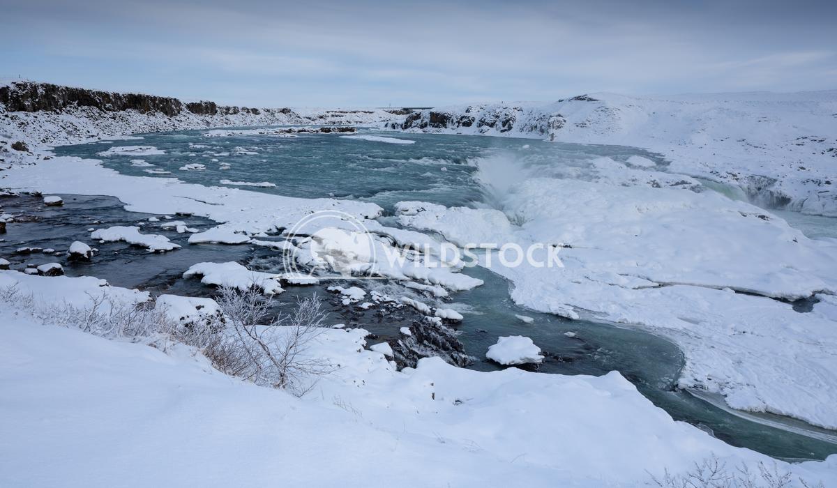 Urridafoss, Iceland, Europe 7 Alexander Ludwig Panoramic image of the frozen waterfall Urridafoss, Iceland, Europe