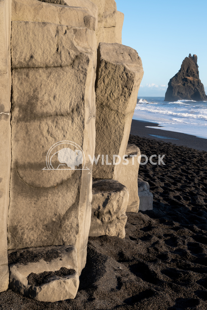 Reynisfjara close to Vik, Iceland, Europe 15 Alexander Ludwig Panoramic image of the rock spires of Reynisdrangur with b