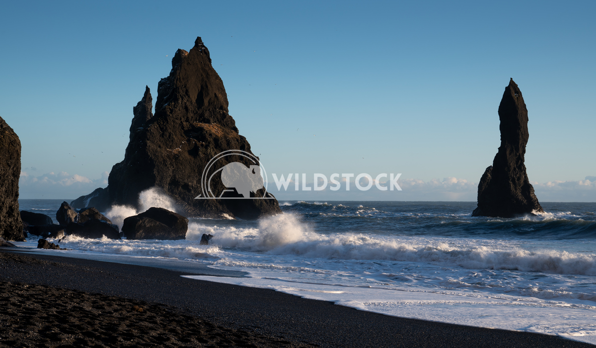 Reynisfjara close to Vik, Iceland, Europe 18 Alexander Ludwig Panoramic image of the rock spires of Reynisdrangur with b