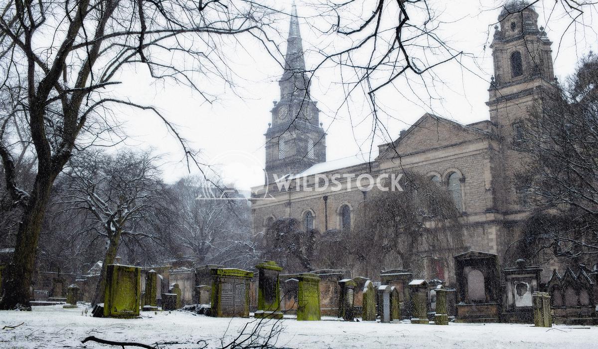 Snowed graveyard Alex  Gutierrez Graveyard and church with a snowed ground