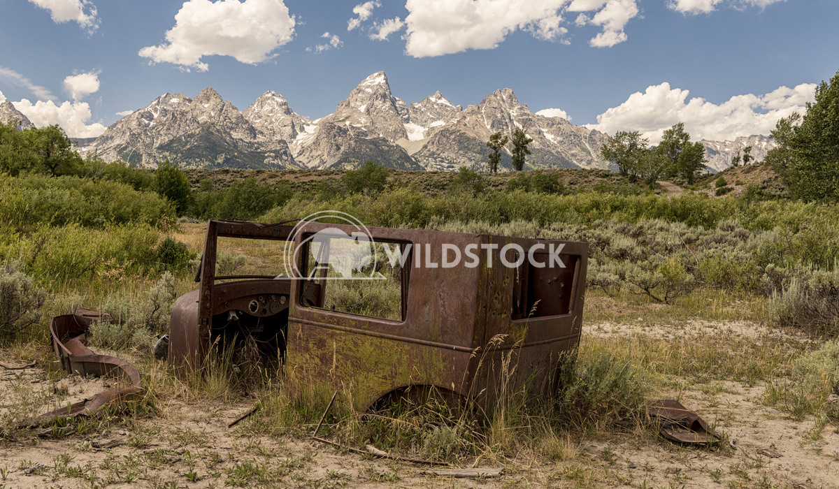 Rusted Car  and Tetons Stacy White Rusty car at an abandoned Dude Ranch in Grand Teton National Park